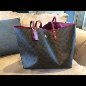 Gorgeous brown and fuschia reversible Coach tote